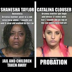 .This picture illustrates irony because the white woman clearly did a far worse crime and was only sentenced to probation. Usually in our society, people associate crime with minorities and are more linent with white people. I think that if a woman is getting high with her child than she should be the one who got her children taken away not the woman who went for a job interview. Also it is ironic that they are both from Arizona.