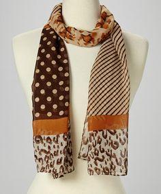 This Brown Stripe & Animal Scarf is perfect! #zulilyfinds