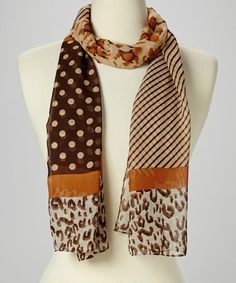 This Brown Stripe & Animal Scarf by Italmode is perfect! #zulilyfinds