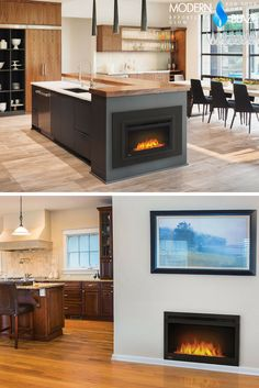 These electric fireplaces are just perfect for installing int the kitchens! Room, Patio Heater, Modern Kitchen, Home Decor, Kitchen Fireplace, Kitchen, Fire Pit, Farmhouse Kitchen, Fireplace