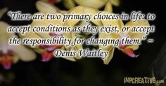 There are two primary choices in life to accept conditions as they exist, or accept the responsibility for changing them. - Denis Waitley - inpcreative.com