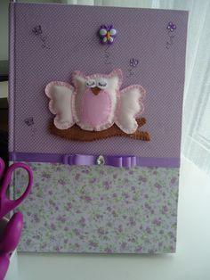 Amazing notebook covered with fabric and decorated with cute pink owl and lovely butterfly buttons.