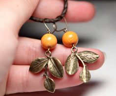 Orange Woodland Vintaj Brass Earrings Polymer Clay by kidalia, via Etsy