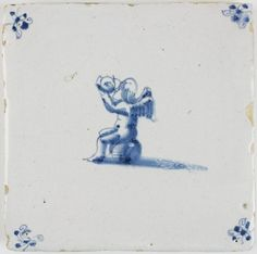 Antique Dutch Delft tile with Cupid drinking a glass of wine, 17th century
