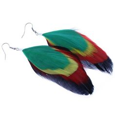 Rasta Style Natural Feather Earrings in Black, Red, Yellow, and Green - 4-5 Inches