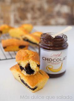 Más dulce que salado: Mini quatre quart con crema de chocolate negro y banana