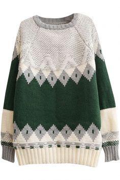Color Block Raglan Sleeve Geometric Jacquard Round Neck Sweater