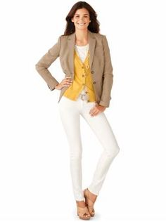 khaki blazer + yellow cardi + white pants + nude shoes