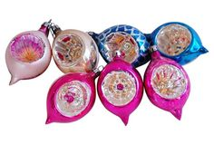 Fancy Christmas Indent Ornaments, S/7
