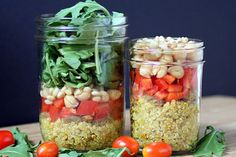 A healthy, make-ahead, grab-and-go salad that's a complete meal in a jar. Vegan, gluten- & dairy-free.  For 3 additional international quinoa salad-in-a-jar varieties, see original post at www.theyummylife.com/Quinoa_Salad_In_A_Jar