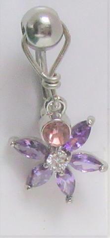 Bioflex VCH Jewellery with Surgical Steel Jewelled Chain Purple
