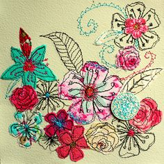 Tropical Floral- original art- mixed media- embroidered