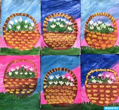 """Children's master class in drawing """"Snowdrops"""", Winter Art Projects, Winter Crafts For Kids, Art For Kids, Oil Pastel Paintings, 4th Grade Art, Art Curriculum, Spring Art, Art Lessons Elementary, Painting Lessons"""