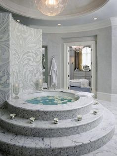 Traditional Master Bathroom with can lights, Crown molding, Chandelier, Wall Tiles, Oregon Tile & Marble White Carrara Marble