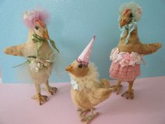 oh my!!!....vintage spun cotton chicks are one of the BEST collectibles for Easter.........they are darling beyond darling.....some with party hats & as you can see...others with sweet little outfits......oh my.....I must admit I am obsessed with these cuties.....over 200 happily perched....on my  antique pine console for easter decor...........