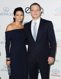 Matt Damon and his wife Luciana Barroso match in as they attend the 2013 Environmental Media Awards together at Warner Bros. Studios in Burbank, Calif., on Oct. 19, 2013.