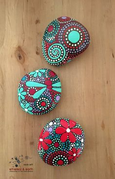 Hand Painted Rocks - Hummingbird Stone Art - Rock Art - Stone Art - ethereal & earth - otherworldly & of this world creations - fields of color collection Trio #58 - $26 - FREE SHIPPING!
