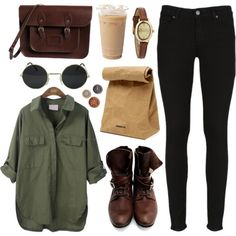 Army green, black skinny jeans, dark brown boots and satchel. Cool shades...this is so 90s grunge