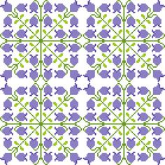Repeat cross stitch pattern of sweet bluebells. When embroidered together in groups this sweet patterns takes a whole new appearance. Design by CrossStitchtheLine ideal for larger projects such as linen and soft furnishings.