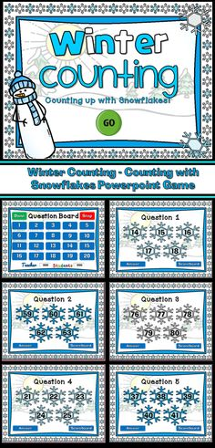 Wintertime is here! Practice counting to 100 with the fun snowflake counting game. Students are given the first number and they must count the next four (4) numbers. A fun way to practice counting to 100. There are a total of 20 questions and you just click on each question to go to it. The question disappears after you've clicked on it so you know you've answered it. There is a type-in scoreboard.  Great for a guided math center or rainy day activity.