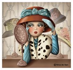 I love hats Et Wallpaper, Decoupage, Fun Illustration, Marquis, Cute Images, Whimsical Art, Cute Art, Art Pictures, Art Drawings
