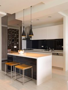 Open Plan Kitchen Island  - modern kitchen. Love the stools by the island.