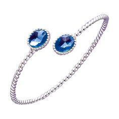 Pulsera adaptable de Plata de 1ª Ley de la marca BECLAY. Piedra azul. Blue. www.cristianlay.com