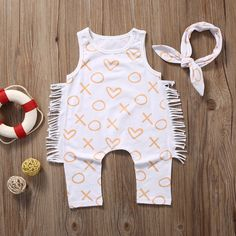Baby and Toddler Girl Fringe X's and O's Romper with Headband, White