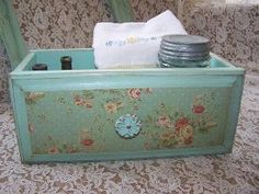 Vintage Aqua Drawer, Farmhouse Decor Storage, jadite by gayle