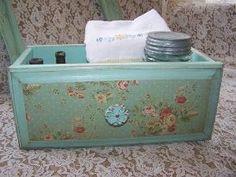 Vintage Aqua Drawer, Farmhouse Decor Storage, jadite by gayle