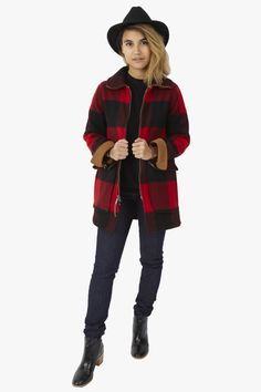 Giant Buffalo Plaid Coat Red
