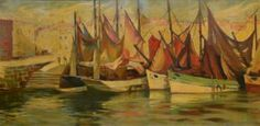 DASTOR GEORGES, XXE SIÈCLE Port de pêche Huile sur toile, signée en bas à gauche Art En Ligne, Objet D'art, Gauche, Oeuvre D'art, Painting, Oil On Canvas, Contemporary Art, Stockings, Artist