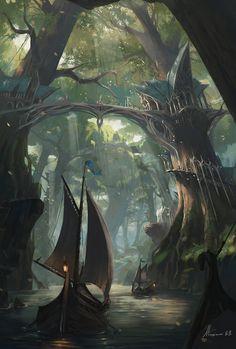 Rios usados pelos elfos como rotas de comércio