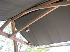 This is the roof detail of a canvas roofed A-Frame made with naturally durable Sweet Chestnut