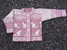 Woolen cardigan with cat pattern