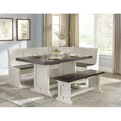 Dining Room Sets, Corner Dining Nook, Kitchen Dining Sets, Dining Room Design, Corner Bench Kitchen Table, Small Dining, Dining Tables, Banquette Dining Set, White Dining Room Table