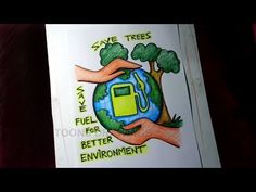 How to Draw Save Trees / Save Fuel for Better Environment Poster Drawing for Kids Save Environment Poster Drawing, Save Environment Posters, Environment Painting, Good Environment, Healthy Environment, Art Drawings For Kids, Drawing For Kids, Easy Drawings, Moon Painting