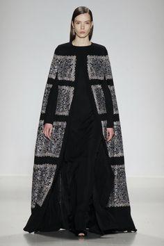 wgsn:  Designer @TadashiShoji established full #elegance and #drama with his floor length #embroidered #cape for #NYFW #MBFW #AW15