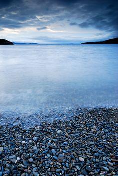Ardmair beach at dusk - peaceful pebbles, NW Highlands, Scotland