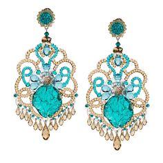 Aqua Crystal Pendant Earrings by DUBLOS from Sevilla, Spain