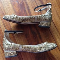 Zara rare gold studded ballet flats. 38 (7/7.5) Zara gold stud studded glittery shoes / ballet flats with black ankle strap, size 38 = US 7/7.5. Have been worn 2 times and still in excellent condition!  Dope. lowballing. Firm price. Zara Shoes Flats & Loafers