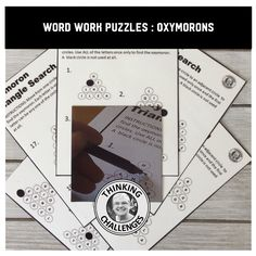 This packet of 20 no prep word work puzzles Figure Of Speech, Word Work Activities, Upper Elementary, Literacy Centers, Critical Thinking, Middle School, Puzzles, About Me Blog, Students