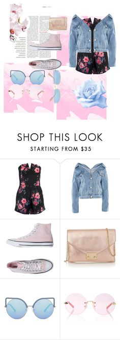 """""""cute pink and blue"""" by jacqkeni ❤ liked on Polyvore featuring Sans Souci, Topshop, Converse, Loeffler Randall, Matthew Williamson, Karen Walker and Ray-Ban"""