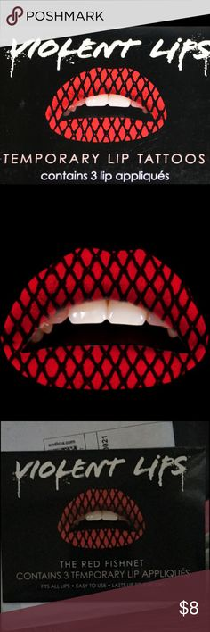 Black&Red fishnet violent lips Black and red fishnet print violent lips. These are temporary lip tattoos. They are very easy to apply and come with three in a pack. violent lips Makeup Lipstick