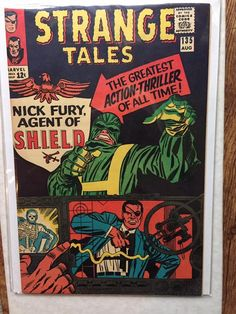 This is a key issue in that it features the first appearance of Nick Fury, Agent of Shield and features a classic Kirby cover. It also features a Dr. Strange story by Steve Ditko. Stan Lee Signed Strange Tales Nick Fury by Jack Kirby). Jack Kirby, Stan Lee, Marvel Comic Books, Comic Books Art, Book Art, Thor, Nick Fury Marvel, Thanos Avengers, Jim Steranko