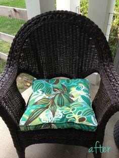 Black Spray Painted Wicker Chair. Rust Oleum Spray Paint