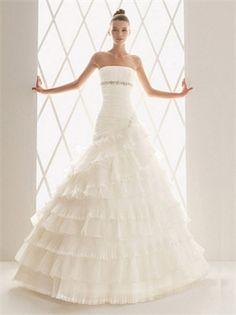 www.balllily.comRomatic Natural Waist Pleated Organza Semi Cathedral Wedding Dress WDM107