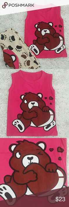 Pink Big Heart Teddy 2 pc set. Kids Adorable and comfortable 2 pc set of hot pink tee and a matching short pants with matching design.  Refer to images.  Pull up style  This item is brand new and never used.?? with tags. Matching Sets