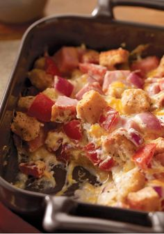 Creamy Ham & Cheese Casserole – Cooked ham, crunchy croutons and a creamy, cheesy sauce make this casserole a weeknight winner—with a prep time of just 15 minutes.