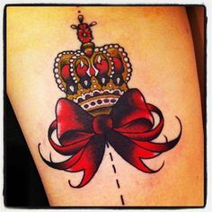 Crown bow colour traditional tattoo